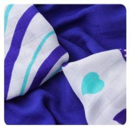 XKKO Bambusové obrúsky Hearts &Waves 30x30 cm, 9ks, Ocean blue mix