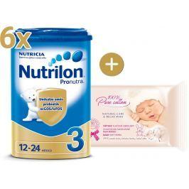 Nutrilon Nutrilon 3 Pronutra - 6 × 800g + vlhčené obrúsky Oncle Bio šípkový olej