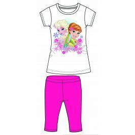 Disney by Arnetta Dievčenský komplet trička a capri nohavíc Frozen - tmavo ružový