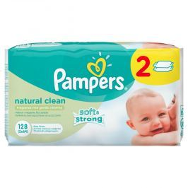 Pampers obrúsky Naturally Clean 2x64 ks