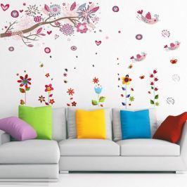 Walplus Samolepky na stenu, kvetinky a vtáčiky