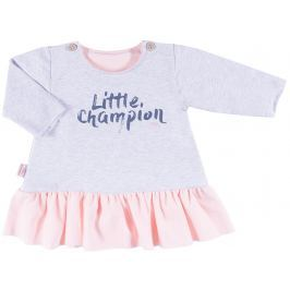 Ewa Klucze Dievčenské šaty s potlačou Little champion - šedo-ružové