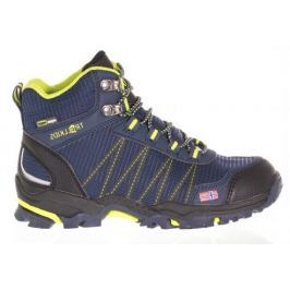 Trollkids Chlapčenská outdoorová obuv Trolltunga Hiker Mid - modro-žltá