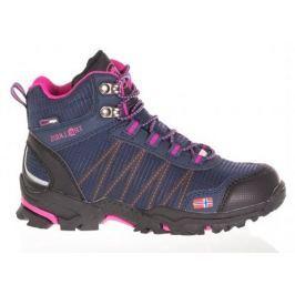 Trollkids Dievčenská outdoorová obuv Trolltunga Hiker Mid - modro-ružová