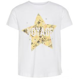 Name it Dievčenské tričko s krátkym rukávom a hviezdou - biele