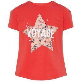 Name it Dievčenské tričko s krátkym rukávom a hviezdou- čierne