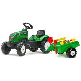 Falk Traktor Ranch Tack s volantom, valníkom, hrabličkami a lopatou - ZELENÝ