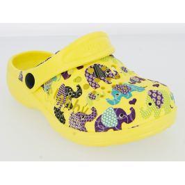 V+J Detské sandále s farebnými slonmi - žlté