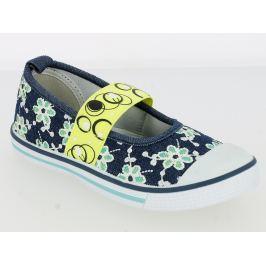 V+J Dievčenské balerínky s kvetinami - modro-zelené