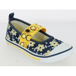 V+J Dievčenské balerínky s kvetinami - modro-žlté