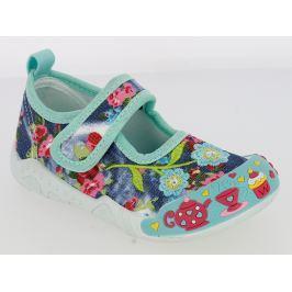 V+J Dievčenské plátené tenisky s kvetinami - farebné
