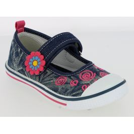 V+J Dievčenské plátené tenisky s kytičkou - modré