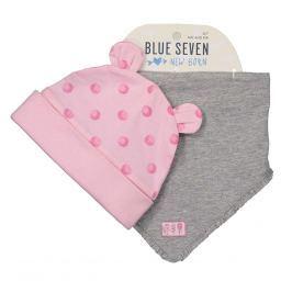 Blue Seven Dievčenský komplet čiapky a šatky - ružovo-šedý