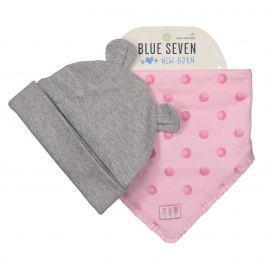 Blue Seven Dievčenský komplet čiapky a šatky - šedo-ružový
