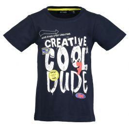 Blue Seven Chlapčenské tričko s nápisom - tmavo modré