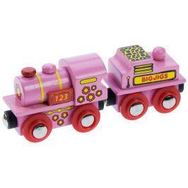 Bigjigs Ružová lokomotíva s tendrom