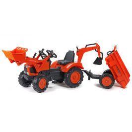 Falk Traktor Kubota s prednou a zadnou lyžicou + vlek