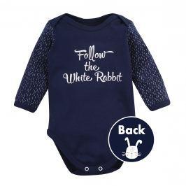 Garnamama Chlapčenské body Rabbit s nápisom - tmavo modré