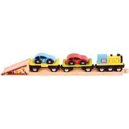 Bigjigs Rail Nákladný vlak s autami a koľajami
