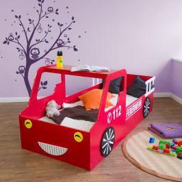 Homestyle4U Detská posteľ Hasičské auto, 90x200 cm - červená