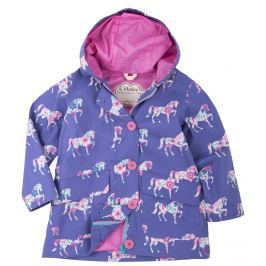 Hatley Dievčenská bunda do dažďa s koníkmi - fialová