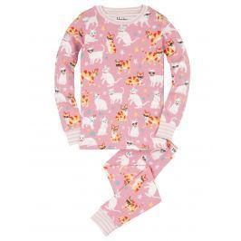 Hatley Dievčenské pyžamo s mačičkami - svetlo ružové