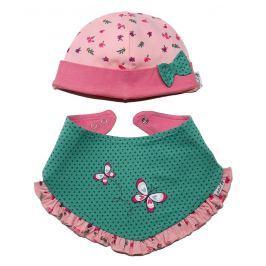 Gelati Dievčenskásúprava čiapočky a šatky s motýlikom - ružovo-zelený