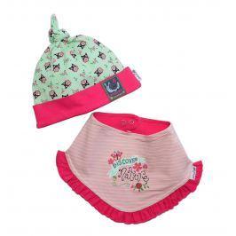 Gelati Dievčenská súprava čiapočky a šatky so sovičkami - farebná