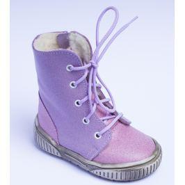 První krůčky Dievčenské zimné topánky so zipsom - ružovo-fialové