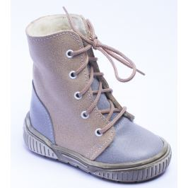 První krůčky Chlapčenské zimné topánky so šnúrkami - hnedo-šedé