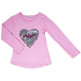 Topo Dievčenské tričko s otočnými flitrami - ružové