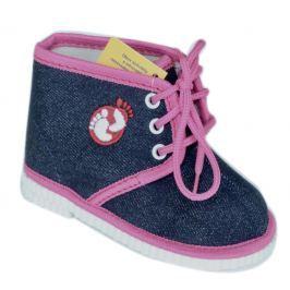 První krůčky Dievčenské členkové papučky s logom - modro-ružové
