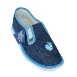 První krůčky Chlapčenské papučky s logom - modré