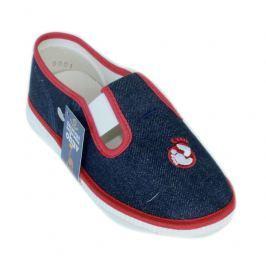 První krůčky Detské papučky s logom - modro-červené