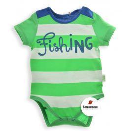 Garnamama Chlapčenské prúžkované body Fishing - zeleno-biele