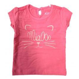 Carodel Dievčenské tričko s mačičkou - tmavo ružové