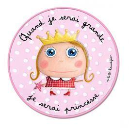Label Tour Detský guľatý koberec Princezná, 80 cm - ružový