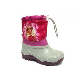 Ren But Dievčenské snehule Barbie so šnurovaním - šedo-ružové