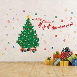 Walplus Samolepka na stenu - vianočný stromček Merry Christmas