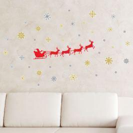Walplus Samolepka na stenu - santa Claus, soby a vločky
