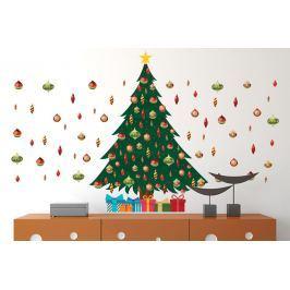 Walplus Samolepka na stenu - vianočný stromček s ozdobami