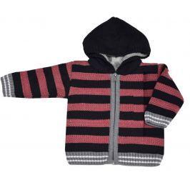 EKO Chlapčenský pruhovaný sveter s kožušinkou - červeno-čierny
