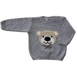 EKO Dievčenský sveter s medveďom - šedý
