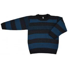 EKO Chlapčenský pruhovaný sveter - modro-šedý