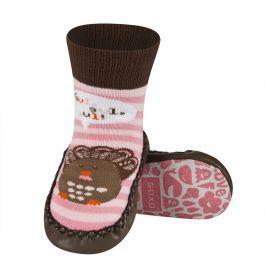 SOXO® Dievčenské ponožky s podrážkou Vtáčik- ružovo-hnedé
