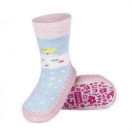 SOXO® Dievčenské ponožky s podrážkou Vtáčik na mráčiku - farebné