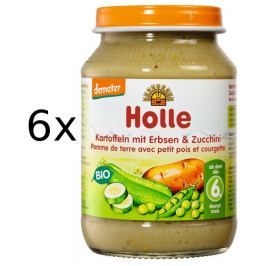 Holle BIO príkrm zemiakov, hrášok a cuketa 6x190g