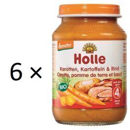 Holle BIO príkrm mrkva, zemiak a hovädzie mäso 6x190g
