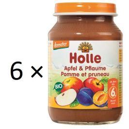 Holle BIO príkrm jablko a slivka 6x190g