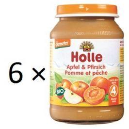Holle BIO príkrm broskyňa a jablko 6x190g